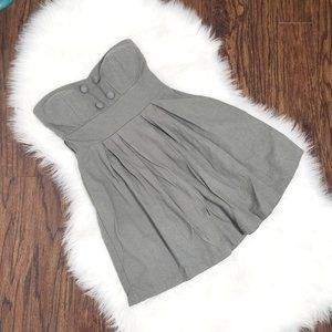Twik | Fit and Flare Strapless Mini Dress Gray
